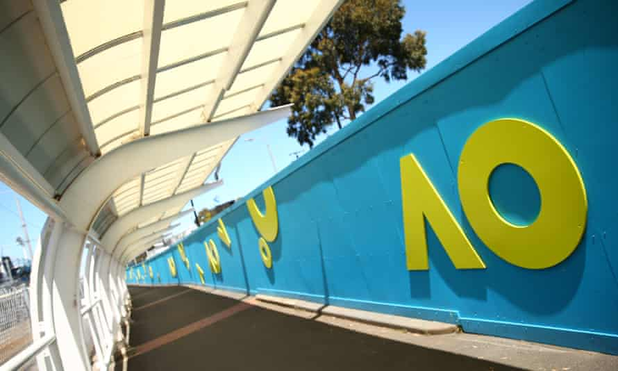 Australian Open signage at Melbourne Park. Two international tennis players who flew into Australia for the event have tested positive to coronavirus.