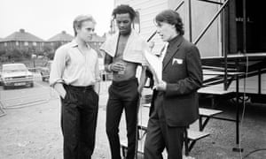 Ranking Roger, centre, and Dave Wakeling of the Beat being interviewed in Gateshead by Jools Holland for the TV show The Tube in 1982.