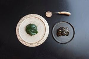Hogget fed on seaweed, spring salad, ramsons.