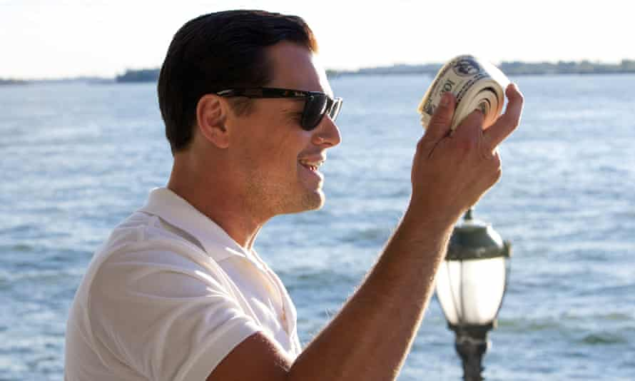Financial excess receives most attention … Leonardo DiCaprio as stockbroker Jordan Belfort in the 2013 film adaptation of The Wolf of Wall Street. Photograph: Sportsphoto Ltd/Allstar
