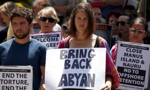 A protest in Sydney in October by supporters of refugees. Abyan's personal circumstances have attracted comment from across the political spectrum.