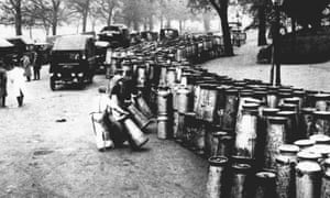 An emergency milk depot set up in Hyde Park, London, during the 1926 general strike.