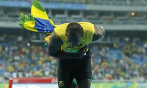 Usain Bolt accepts the crowds applause.