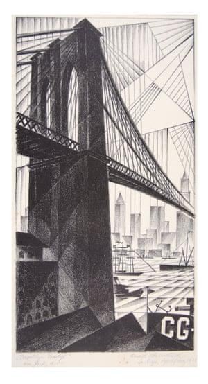 """Brooklyn Bridge,"" 1925. Lithograph"