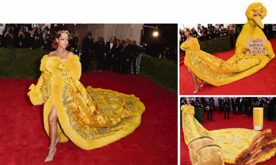 An assortment of Rihanna memes, based on her 2015 appearance at the Met Gala.