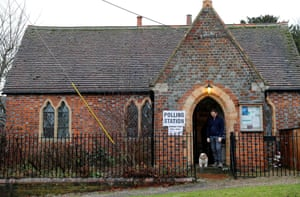A polling station at the village hall in Cuxham, Oxfordshire