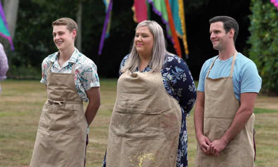 Great British Bake Off 2020 finalists Peter, Laura and Dave.