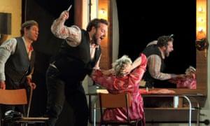 Cinematic … Simon Keenlyside as Tonio, Bryan Hymel as Canio and Carmen Giannattasio as Nedda in Pagliacci.