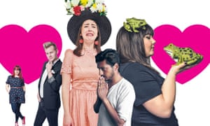 Love struck … from left, Angela Barnes, Joel Creasey, Emma Sidi, Ahir Shah and Sofie Hagen