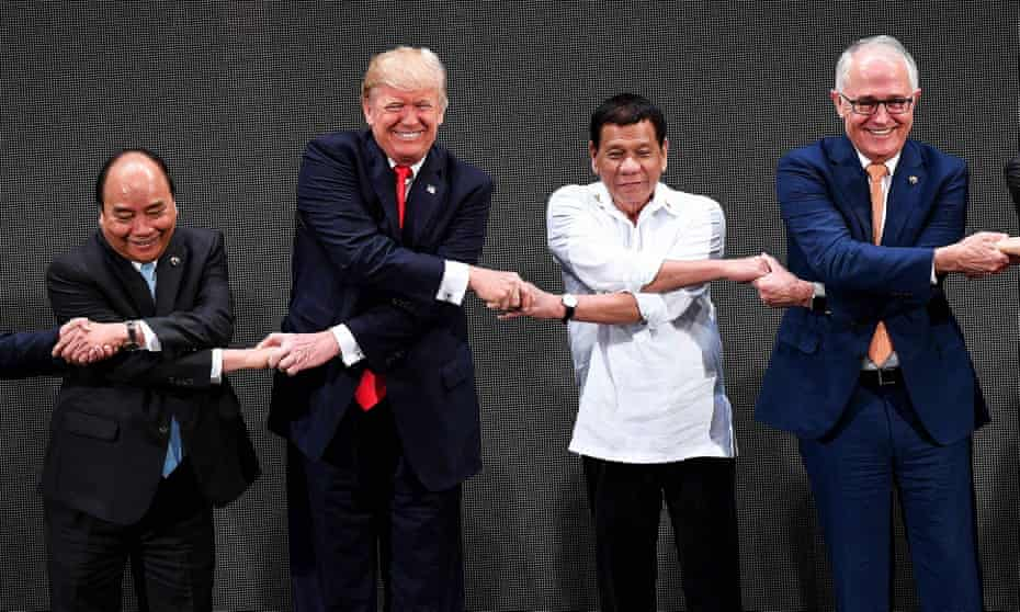 The two leaders with Vietnam's prime minister Nguyen Xuan Phuc and Philippine president Rodrigo Duterte at Asean