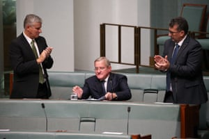Ian Macfarlane is applauded by his colleagues after delivering his valedictory speech in the House of Representatives in March.