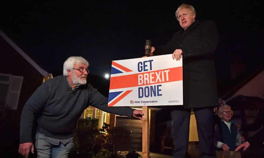 Britain's Prime Minister Boris Johnson campaigning in South Benfleet, Essex.
