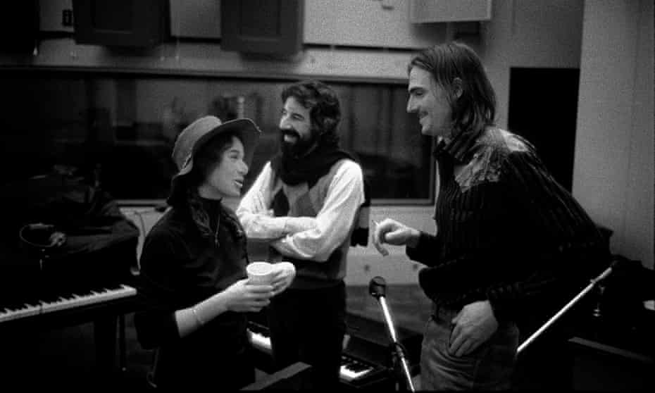 King, producer Lou Adler and Taylor in Los Angeles during sessions for Tapestry in 1970.