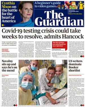 Guardian front page, Wednesday 16 September 2020