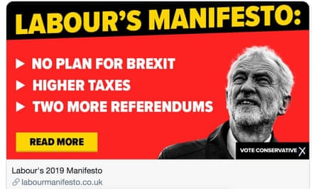 The image tweeted by the Conservative party's account linking to a website attacking Labour's manifesto.
