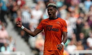 Joelinton celebrates after scoring the opening goal in the friendly win over St-Étienne.