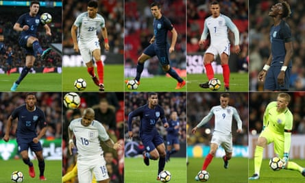 Clockwise from top left: Harry Maguire, Dominic Solanke, Jack Cork, Jake Livermore, Tammy Abraham, Jordan Pickford, Jamie Vardy, Ruben Loftus-Cheek, Ashley Young and Joe Gomez.