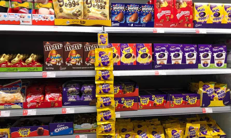 Eggs and other Easter chocolates on display