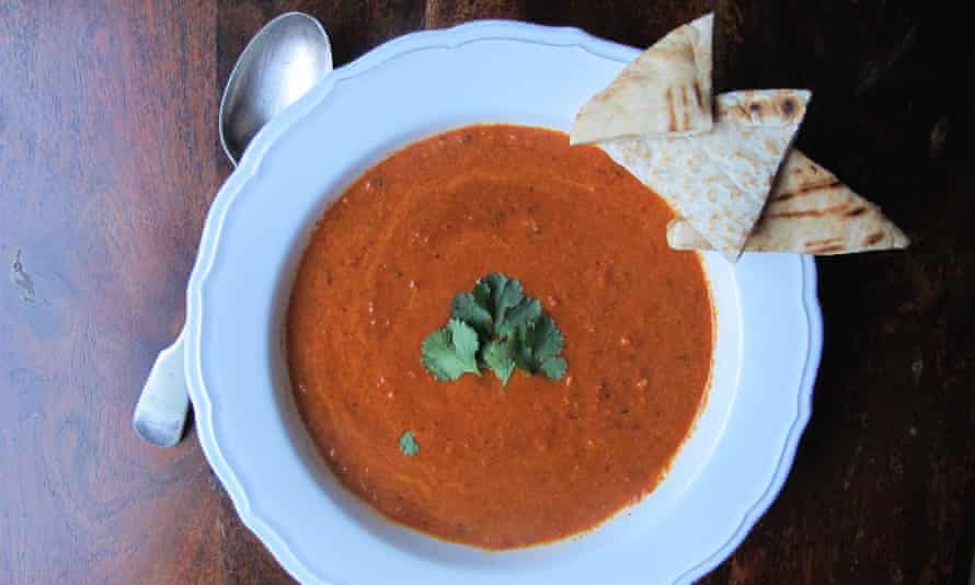 Roasted red pepper and walnut soup.