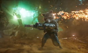 Sharp-shooter … Rocket Raccoon, voiced by Bradley Cooper, in a scene from Guardians of the Galaxy Vol 2.