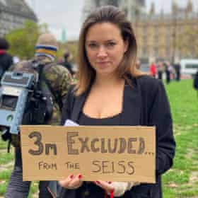 Mary Bevan protests outside Parliament.