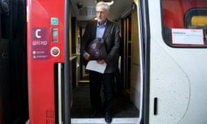 Jeremy Corbyn steps off a train