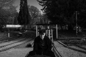 John Styles at the model railway in Heath Park