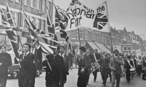 Members of the National Front march through Southall in 1967.