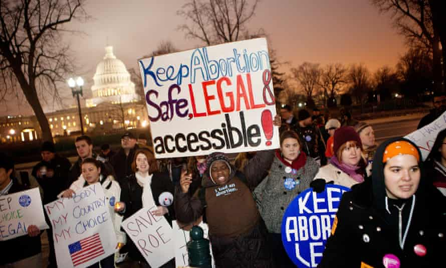 Pro-choice activists in Washington DC. The supreme court will hear a challenge to Texas law HB2, which has led to the closure of more than half the state's abortion clinics.