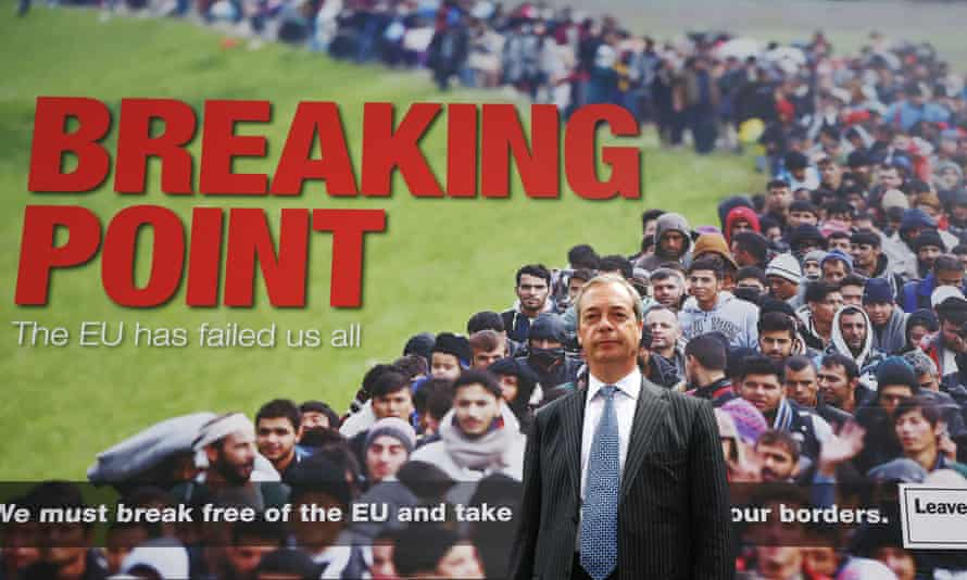 Former Ukip leader Nigel Farage in June 2016 with a poster suggesting millions of Turkish migrants were likely to arrive in the UK.