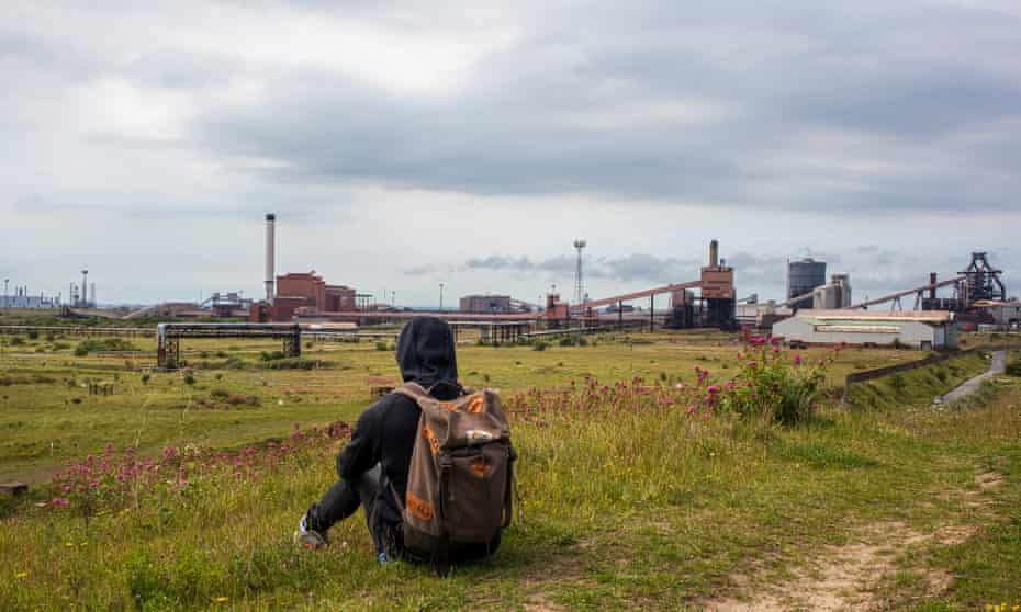 Paul Smith sketching on the Black Path, Redcar, Teeside.