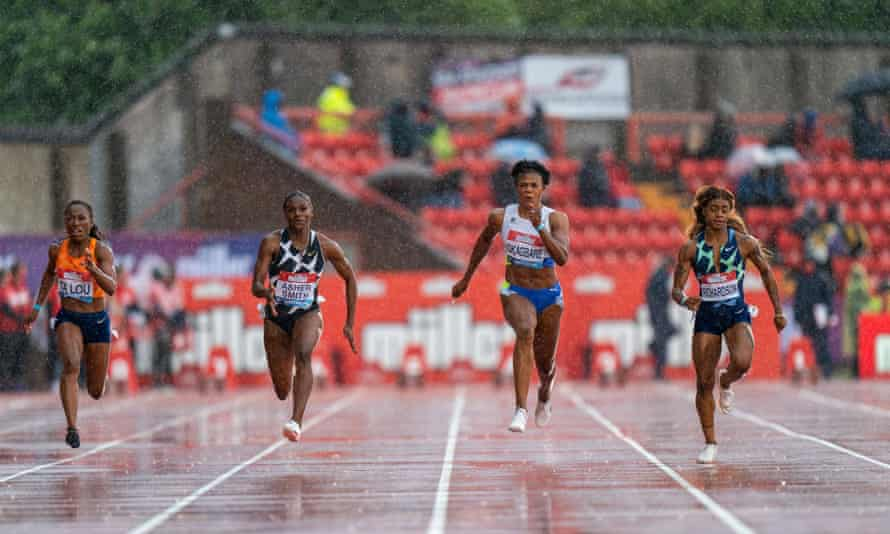 Dina Asher-Smith (second left) beat Marie-Josee Ta Lou (left), Blessing Okagbare (second right) and Sha'Carri Richardson (right) in Gateshead in May.
