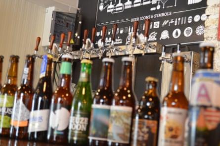 Craft beer bottle on the bar at El Fermentador, Granada, Spain