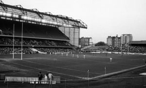 Fulham playing rugby league at Stamford Bridge in May 1983.