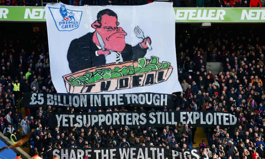 Crystal Palace supporters make clear their feelings about the new Premier League TV deal ahead of their match against Arsenal last February