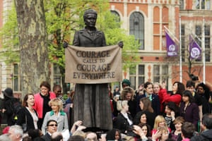 A bronze statue of the suffragist leader Millicent Fawcett in Parliament Square