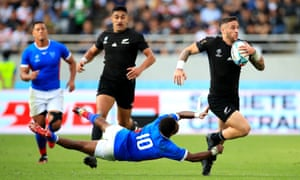 Namibia's Helarius Kisting (No 10) can't stop TJ Perenara scoring New Zealand's 11th try.