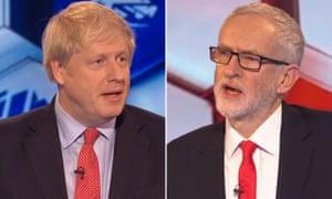 Boris Johnson and Jeremy Corbyn at the BBC's TV debate last Friday night