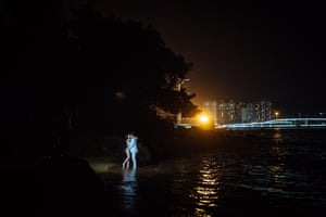 A night-time shoot on the beach at Gulangyu Island, in Xiamen
