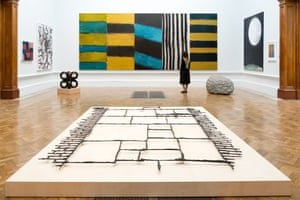 Full House by Sean Scully, and Black Path (Bunhill Fields) by Cornelia Parker, at the Royal Academy's Summer Exhibition in London.