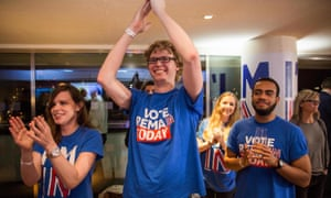 Supporters of the Britain Stronger In Europea campaign hoping for a 'remain' vote cheer as the EU referendum result from Gibraltar is announced at a results party at the Royal Festival Hall in London.
