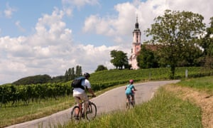 Pedalling towards the Birnau Basilica in southern Germany.