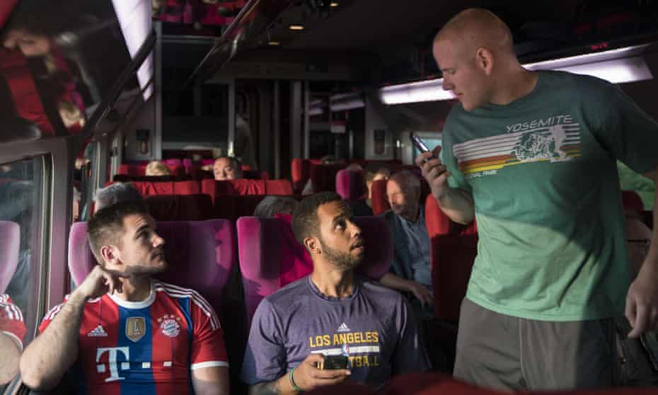 Bad at acting but not as bad as all that … from left, Spencer Stone, Anthony Sadler and Alex Skarlatos in The 15:17 to Paris.