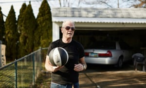 Brian King keeping in shape, playing basketball in his back yard.