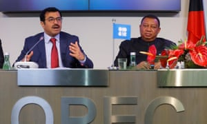 OPEC President Qatar's Energy Minister al-Sada and OPEC Secretary General Barkindo at today's news conference.