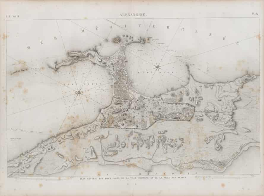 Drawings of the two ports of Alexandria. When planning the city, future roads and houses were marked with barley flour in a life-sized blueprint.