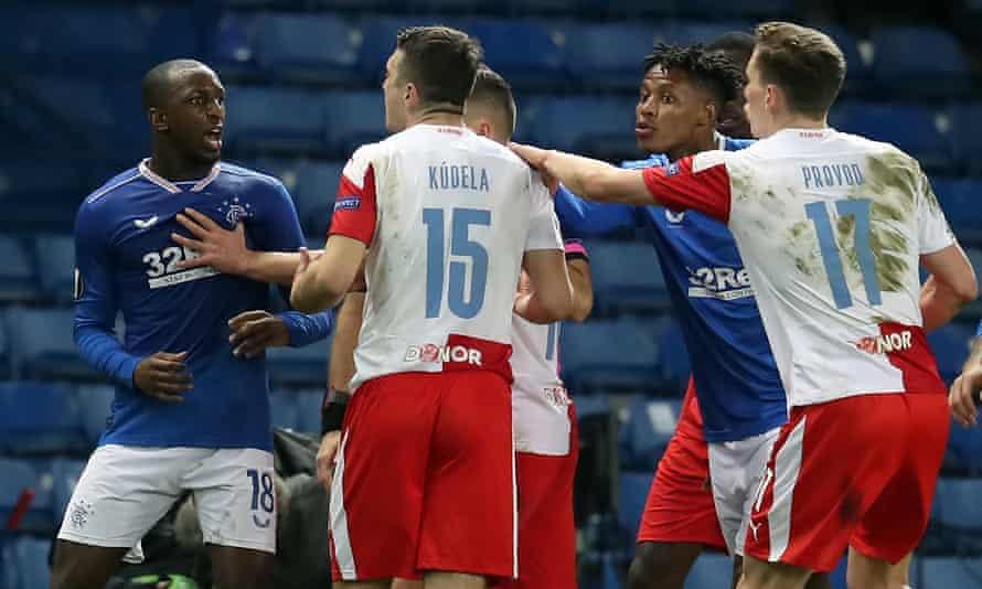 Slavia Prague's Ondrej Kudela was found by Uefa to have racially abused Rangers' Glen Kamara (left) last month.