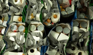Food parcels supplied to vulnerable and self-isolating elderly people by a community organisation in the Glasgow area.