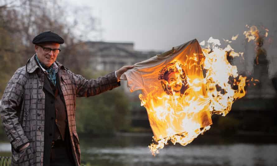 Joe Corre burns a God Save The Queen T-shirt