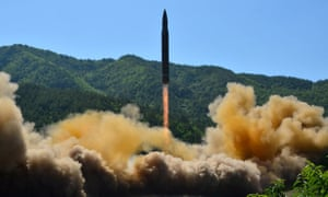 The intercontinental ballistic missile Hwasong-14 seen during its test in an undated photo released by KCNA in Pyongyang.